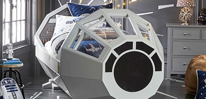 star wars bed puts kids in the millennium falcon