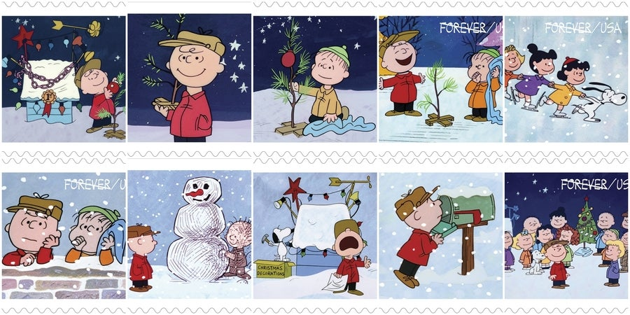 Charlie brown christmas forever stamps released