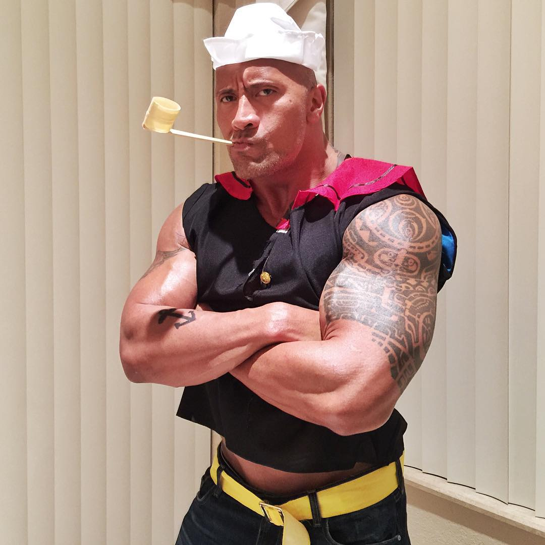 12120487 1720692061493059 1681067715 n  sc 1 st  PopCulture.com & Shiver Me Timbers! Dwayne The Rock Johnson Was Popeye For Halloween