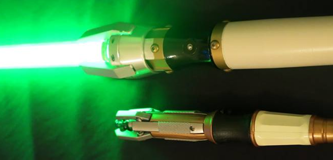 Doctor who and star wars collide fan builds sonic for Hampton s hand crafted led sabers