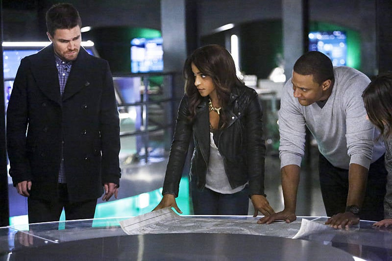 Oliver Queen, Mari McCabe, and John Diggle in Arrow.