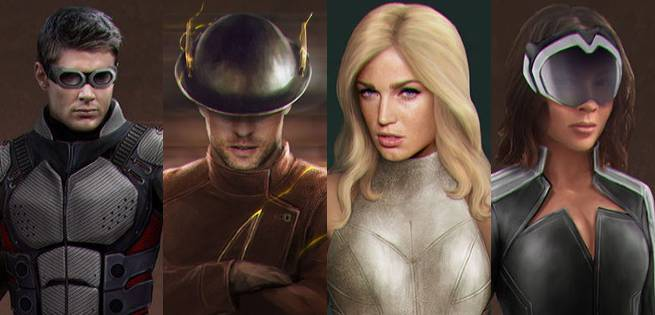 Jay Garrick, White Canary, Dr. Light Geomancer Concept Art