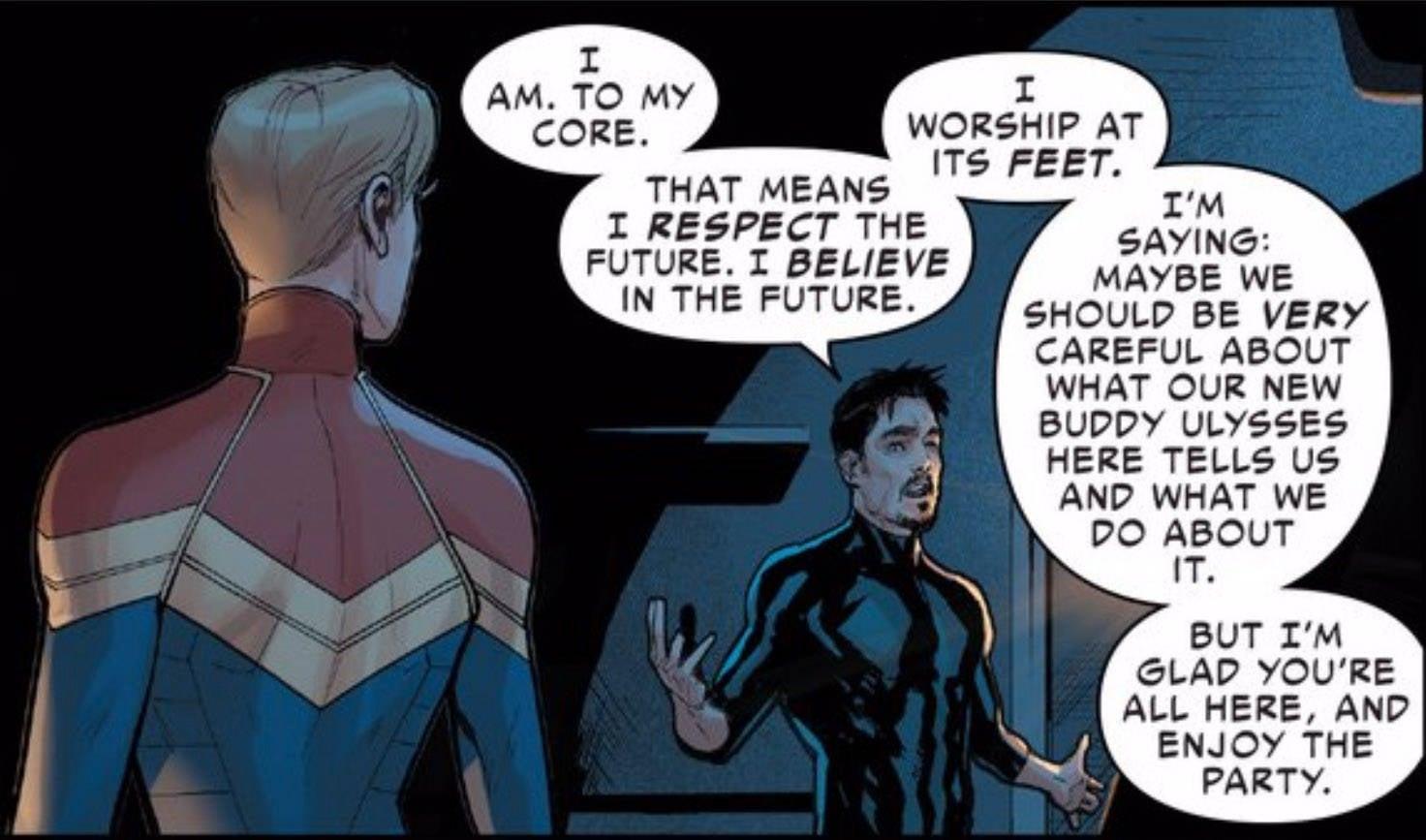 CW Cap Marvel Tony Convo