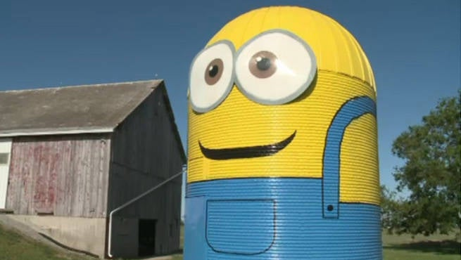 Grain Silo Turned Into Giant Minion