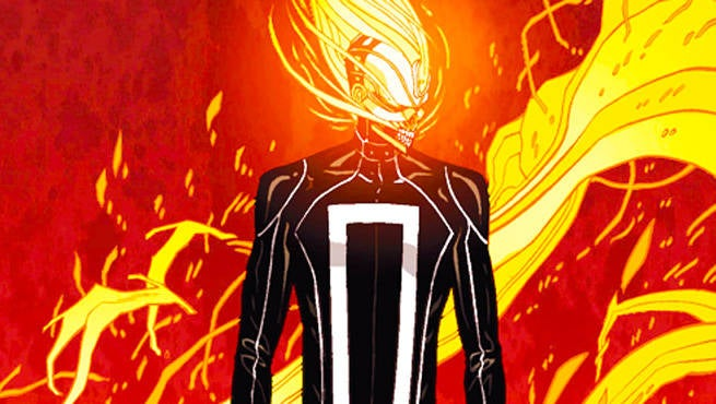 Check out the first image of Ghost Rider from Agents of SHIELD