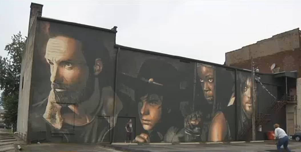 The walking dead mural completed in kentucky for Mural walking dead