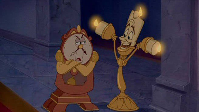 First Look At Live Action Lumiere And Cogsworth From