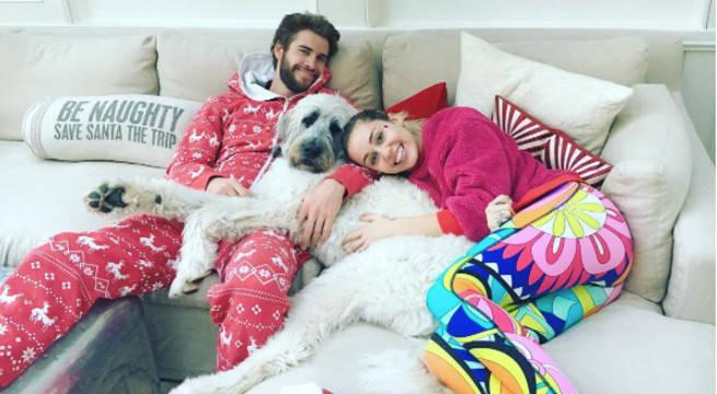 Liam and Miley in Xmas pajamas