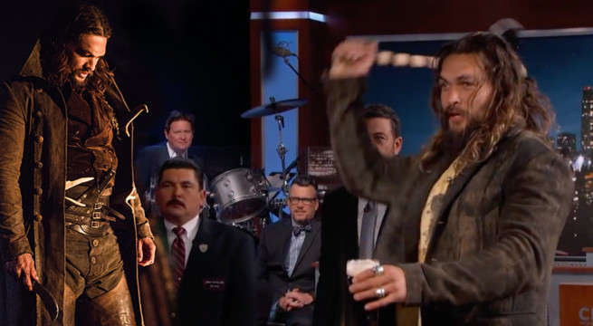 Aquaman's Jason Momoa Drinks Beer And Throws Axes On Jimmy Kimmel Live