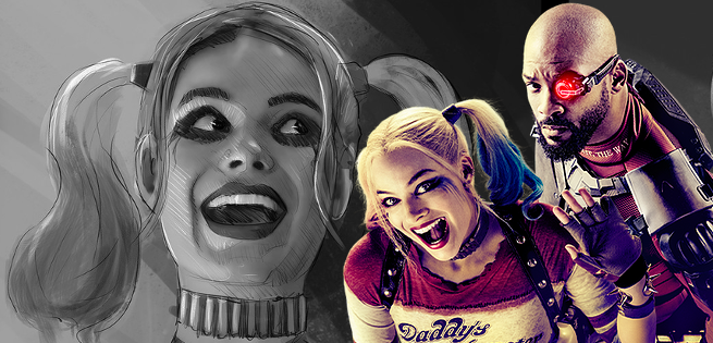Suicide Squad Concept Art Featuring Harley Quinn, Joker, and Deadshot