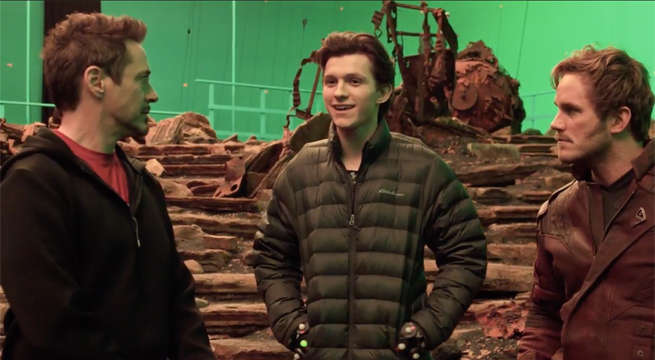Robert Downey Junior, Tom Holland and Chris Pratt at the sets of Infinity War