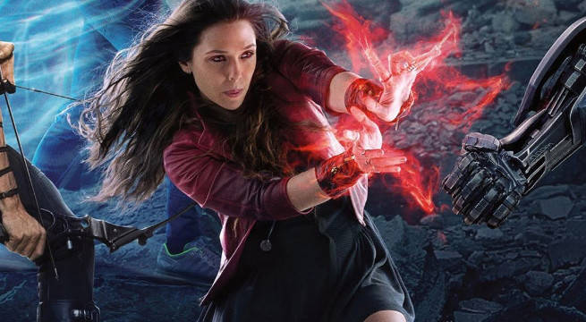 avengers infinity war scarlet witch elizabeth olsen filming on set