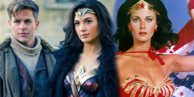 chris pine gal gadot lynda carter wonder woman