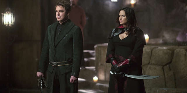 Malcolm Merlyn John Barrowman and Nyssa al Ghul Katrina Law