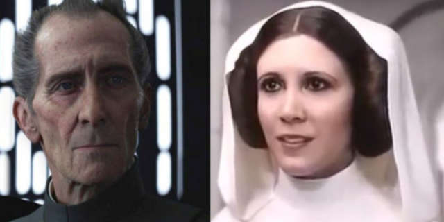 rogue one cgi princess leia grand moff tarkin carrie fisher peter cushing legal