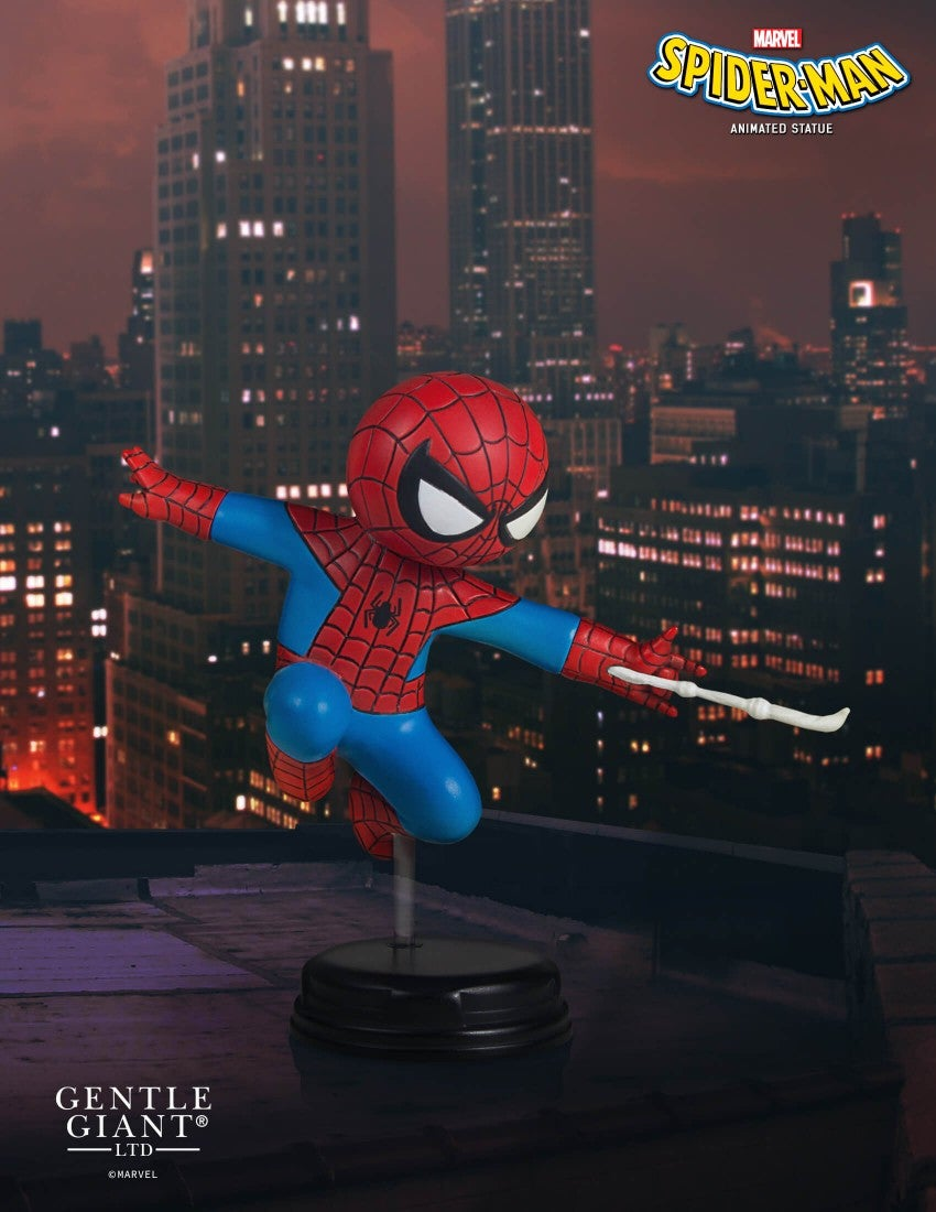 spider man swings into battle in sdcc exclusive animated statue