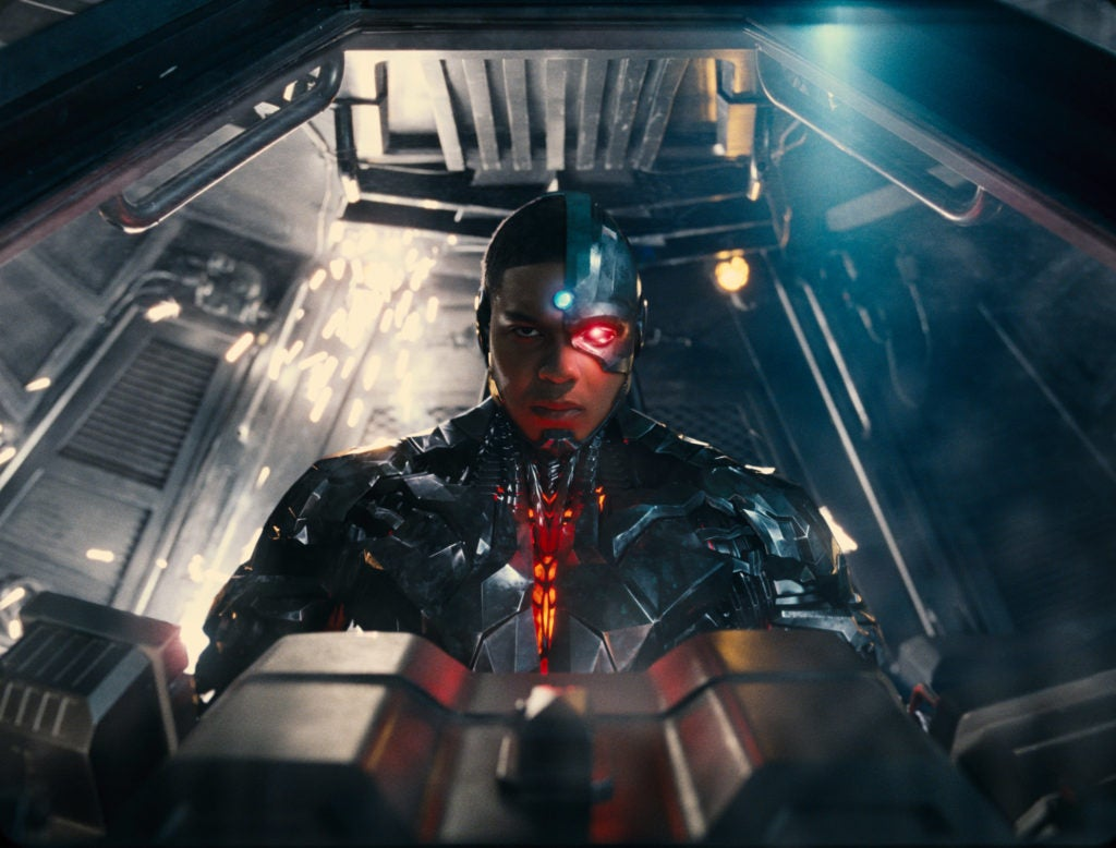 Cyborg in Batmobile in Justice League Hi-Res Image