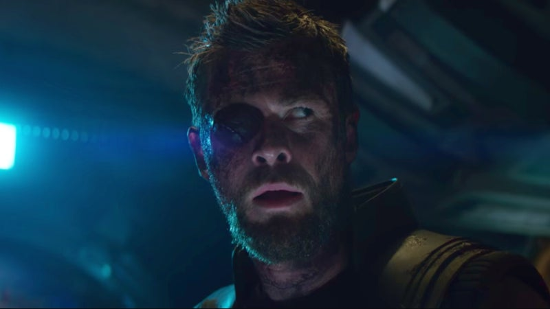 Avengers Infinity War Trailer SDCC Footage Differences- Thor Guardians Eye Patch