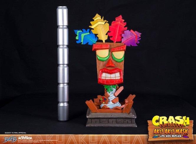 crash bandicoot fans won t want to miss this life size aku aku statue