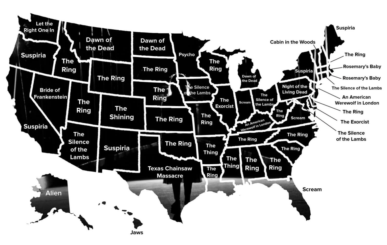 favorite horror movies by state