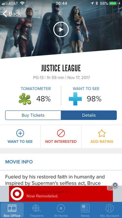justice league rotten tomatoes score leak