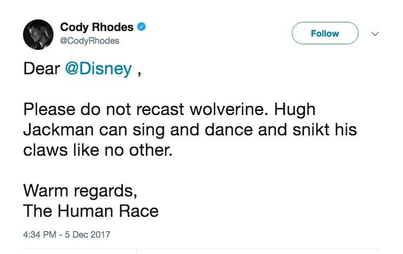 Cody Rhodes Hugh Jackman Wolverine Recasting