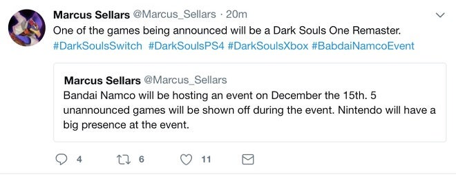 Dark Souls Remaster Tweet