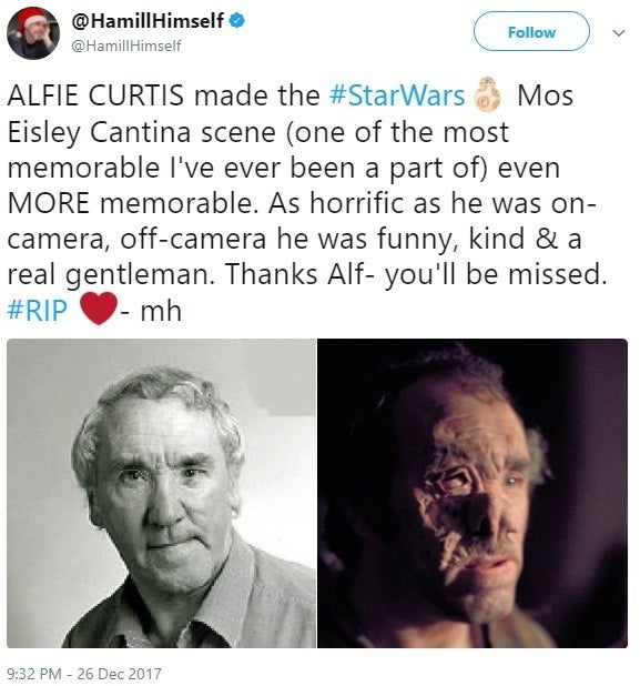 Mark Hamill Honors 'Star Wars' Actor Alfie Curtis' Passing