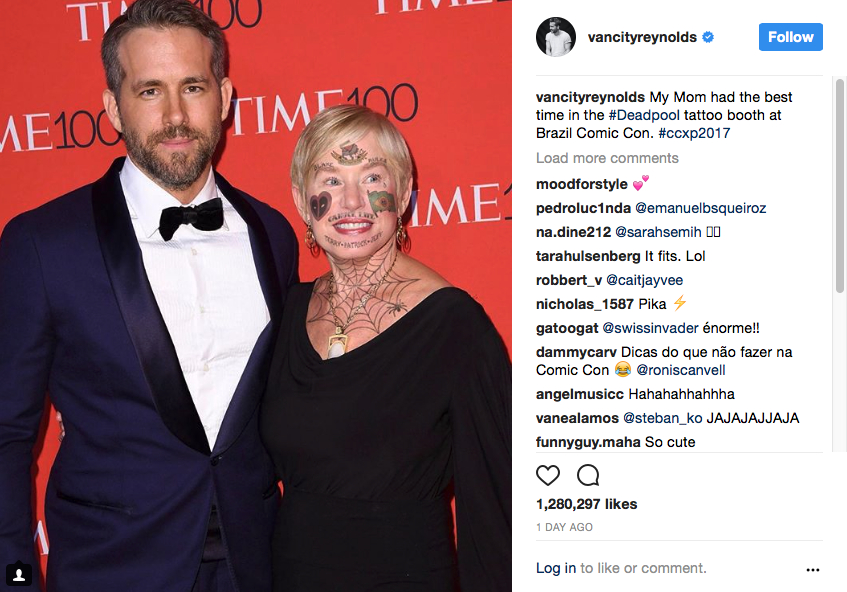Ryan Reynolds Mom Deadpool Face Tattoos