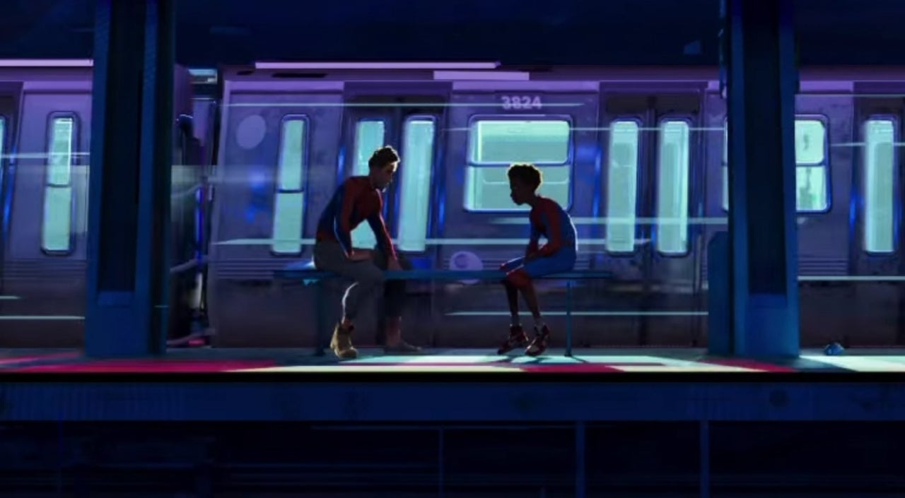 Image result for Spider-Man edge of the spider verse movie miles and peter