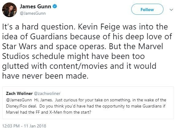 james gunn guardians of the galaxy fox disney
