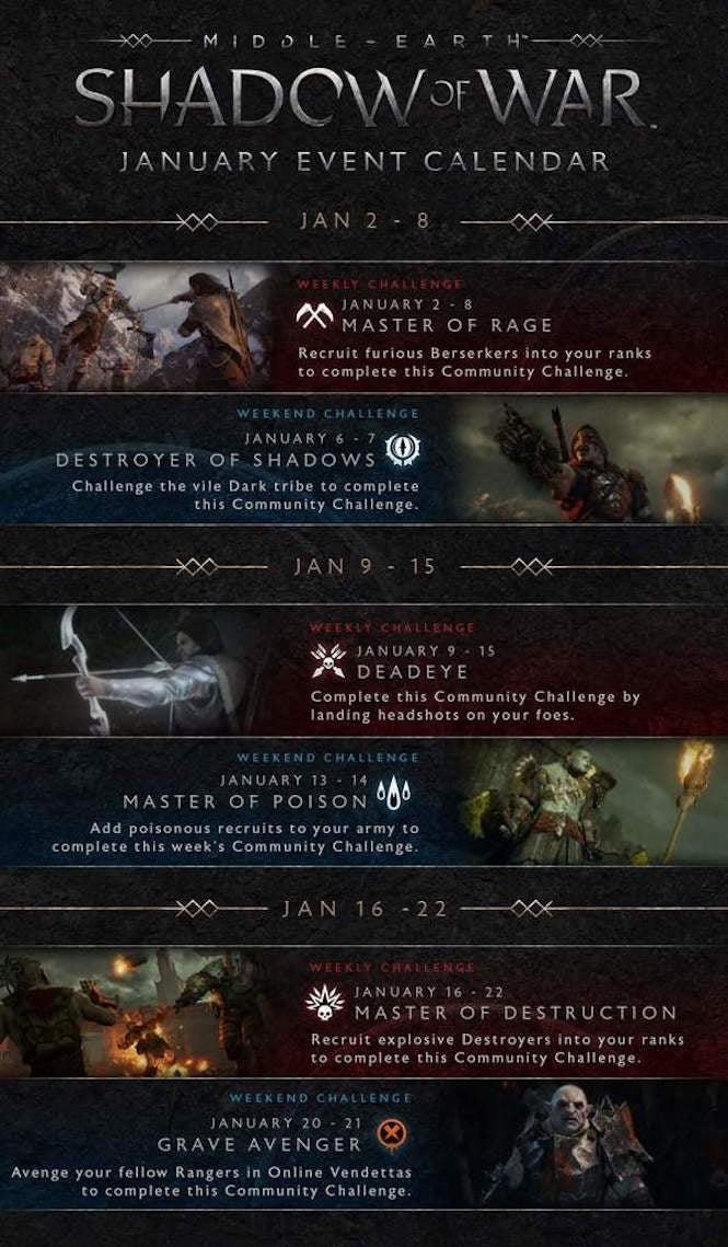 Shadow of War Calendar