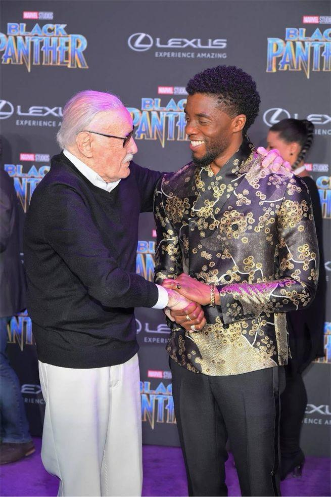 Stan Lee and Chadwick Boseman at the Black Panther World Premiere