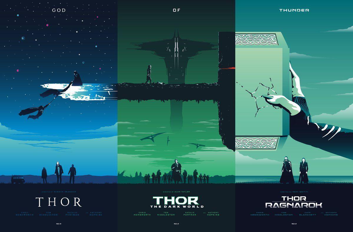 Thor Movie Trilogy Fan Poster MCU by Rico Jr. Crea