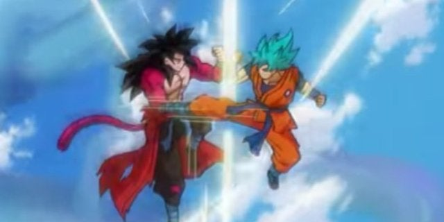 Dragon Ball Heroes SSB vs SSJ4 Goku
