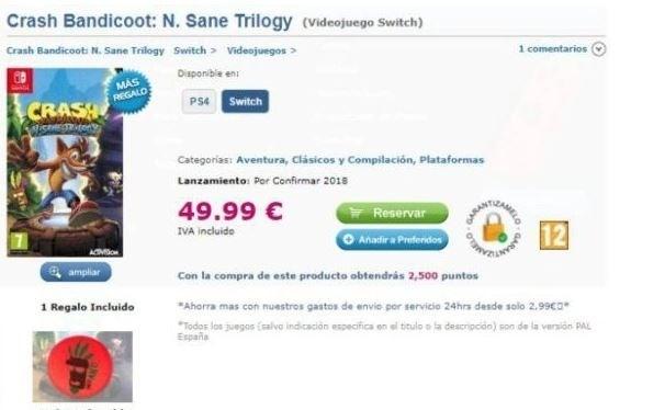 Crash Bandicoot Nintendo Switch Retailer Listing Sighted Even Pre