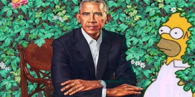 Barack Obama's Official Portrait Gets A 'The Simpsons' Meme