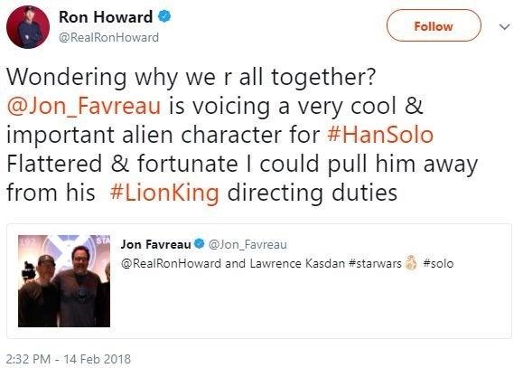 solo star wars jon favreau alien voice