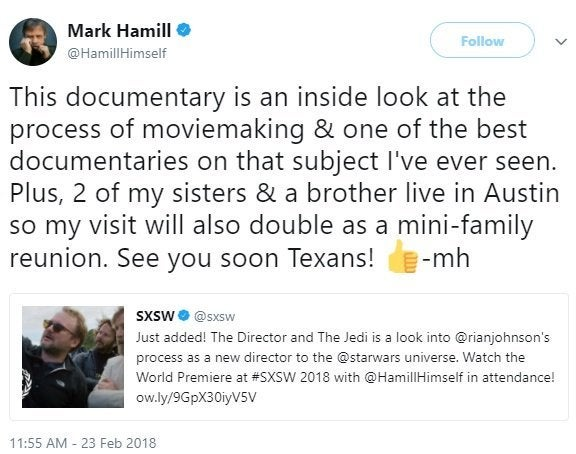 star wars the last jedi documentary the director and the jedi hamill