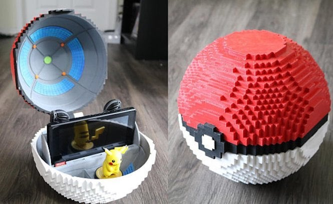 this custom pokemon nintendo switch pokeball dock is amazing
