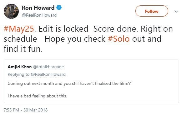 Solo's Edit Is 'Locked,' Says Director Ron Howard