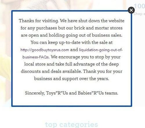 Toys R us shuts down website