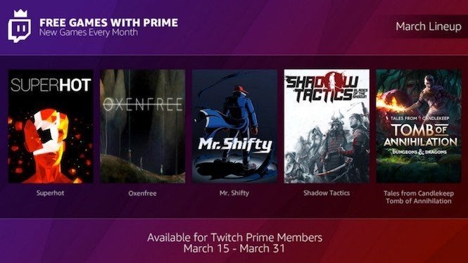 Twitch Announces Monthly 'Free Games with Prime,' Reveals March and April Titles