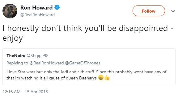 solo ron howard twitter jedi sith