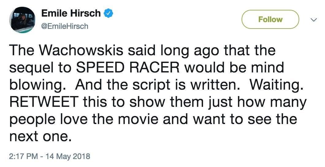 emile hirsch speed racer sequel