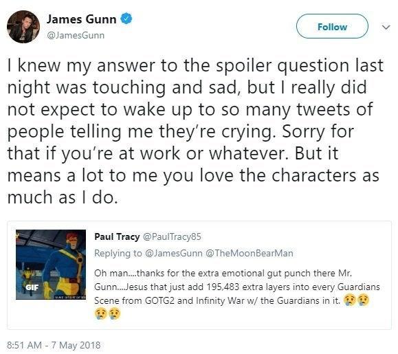 james gunn groot final line avengers infinity war