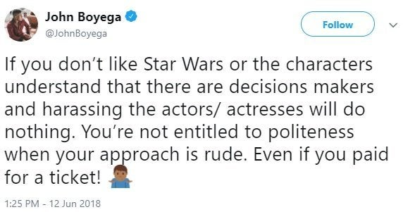 John Boyega has a message for online trolls harassing his co-stars