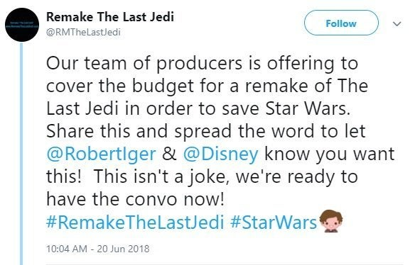 remake the last jedi twitter