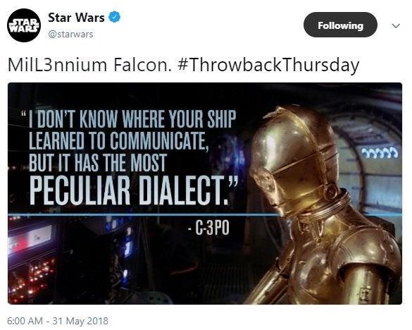 solo movie l3-37 millennium falcon