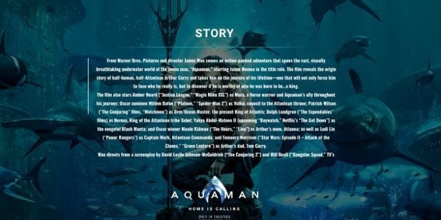Aquaman Movie Synopsis Official